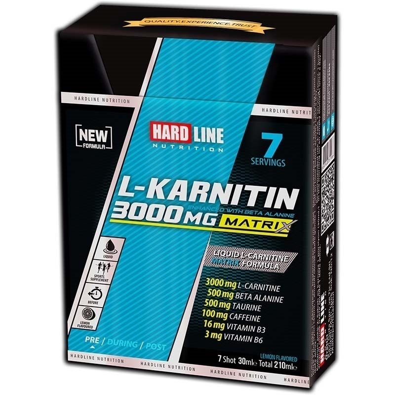 Hardline L-Karnitin Matrix 3000 Mg 7 Ampül