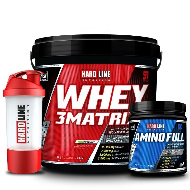 Hardline Whey 3Matrix 4000 Gr + Amino Full 300 Tablet Kombinasyonu