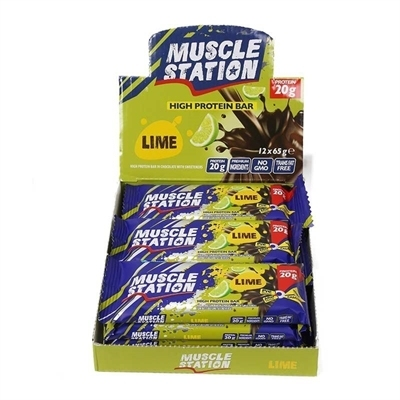 Muscle Station Protein Bar Lime 65 Gr 12 Adet