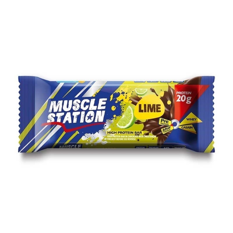 Muscle Station Protein Bar Lime 65 Gr 1 Adet