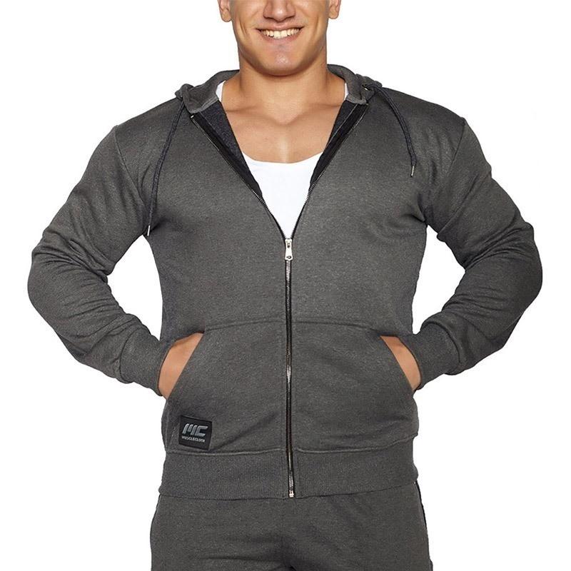 MuscleCloth Kapüşonlu Fermuarlı Sweatshirt Gri
