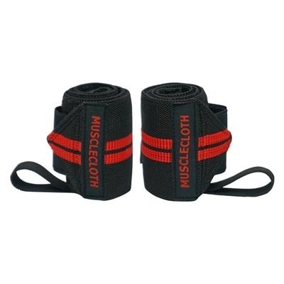 MuscleCloth Pro Wrist Wraps Siyah Kırmızı 2\'li Paket