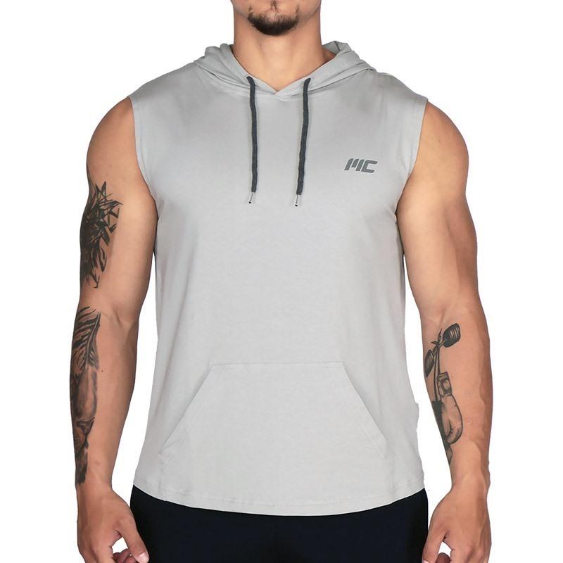MuscleCloth Training Kapüşonlu Kolsuz T-Shirt Gri