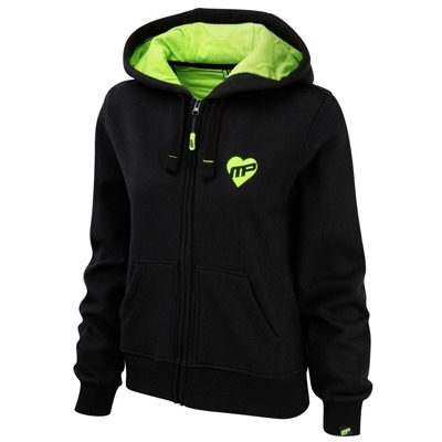 MusclePharm Kadın Fermuarli Kapüşonlu Sweat Shirt 'Strong is The New Sexy' Siyah ve Yeşil
