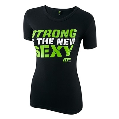 Musclepharm Kadın T Shirt 'Strong İs The New Sexy' Siyah Ve Yeşil