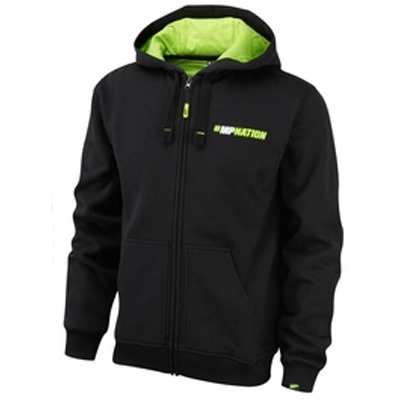 MusclePharm Kapüşonlu Fermuarlı Sweat Shirt 'Train Hard Hit Harder' Siyah