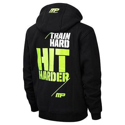 MusclePharm Kapüşonlu Fermuarlı Sweat Shirt 'Train Hard Hit Harder' Siyah