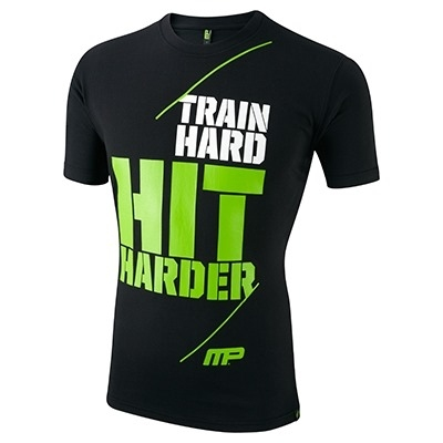 MusclePharm T Shirt 'Train Hard Hit Harder' Siyah
