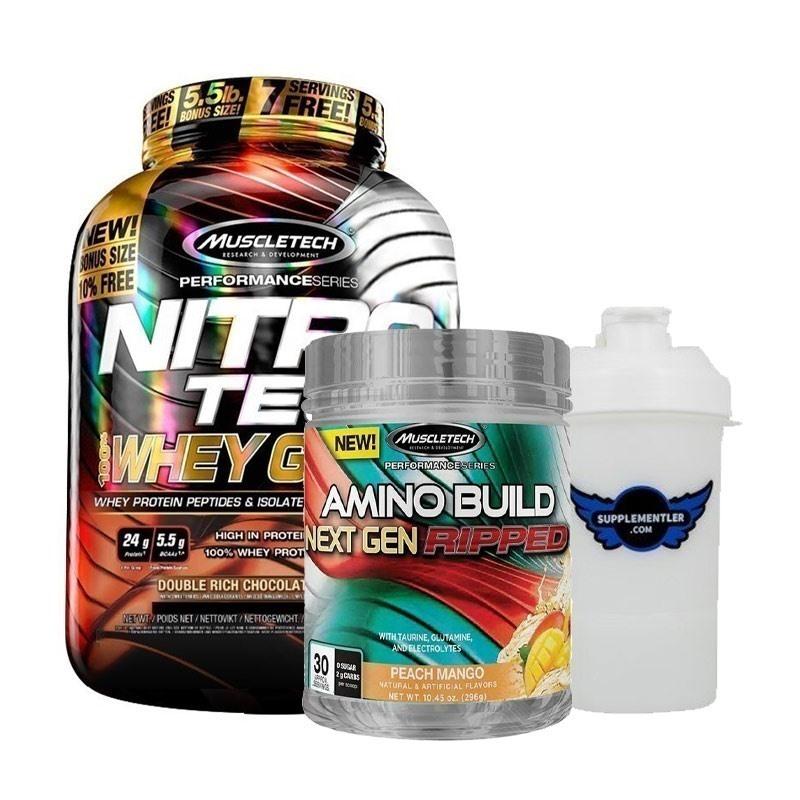 Muscletech Nitrotech Whey Gold 2500 Gr + Amino Build 296 Gr Kombinasyonu