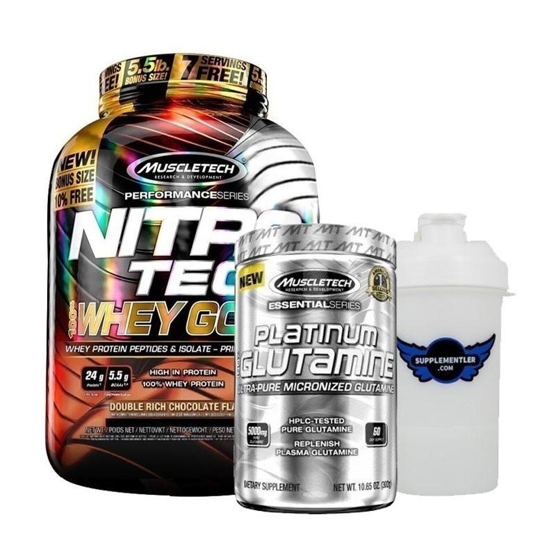 Muscletech Nitrotech Whey Gold 2500 Gr + Glutamine 302 Gr Kombinasyonu