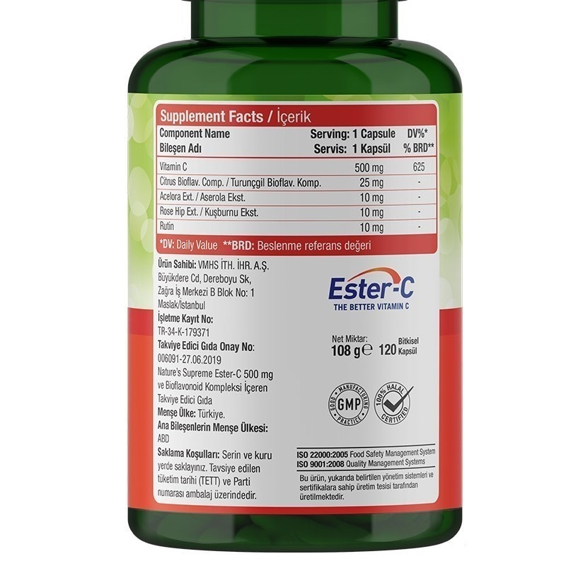 Nature's Supreme Ester-C 500 Mg C Vitamini 120 Kapsül
