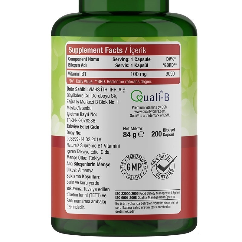 Nature's Supreme Vitamin B1 100 Mg 200 Kapsül