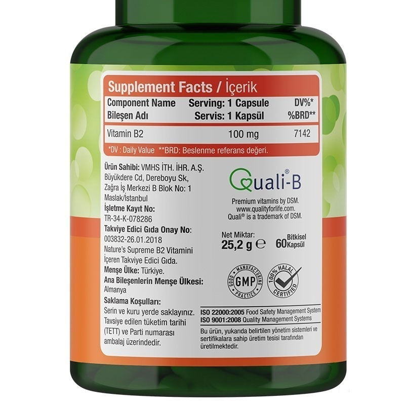 Nature's Supreme Vitamin B2 100 Mg 60 Kapsül