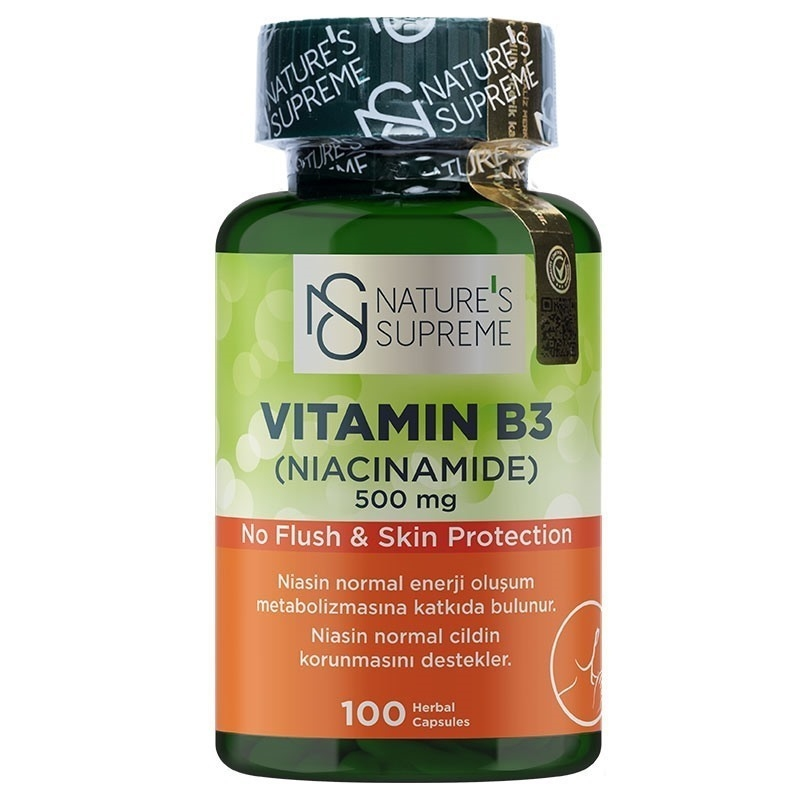 Nature's Supreme Vitamin B3 500 Mg (No Flush) 100 Kapsül