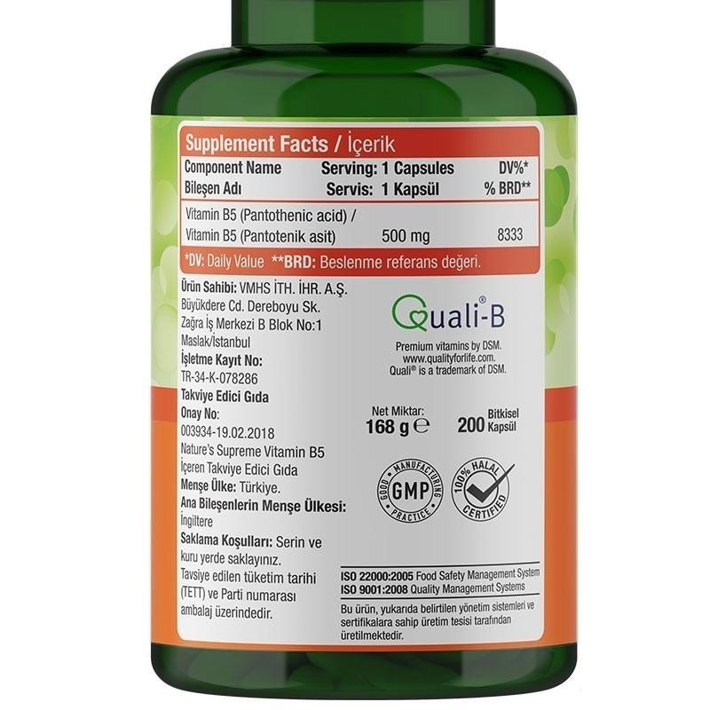 Nature's Supreme Vitamin B5 500 Mg 200 Kapsül