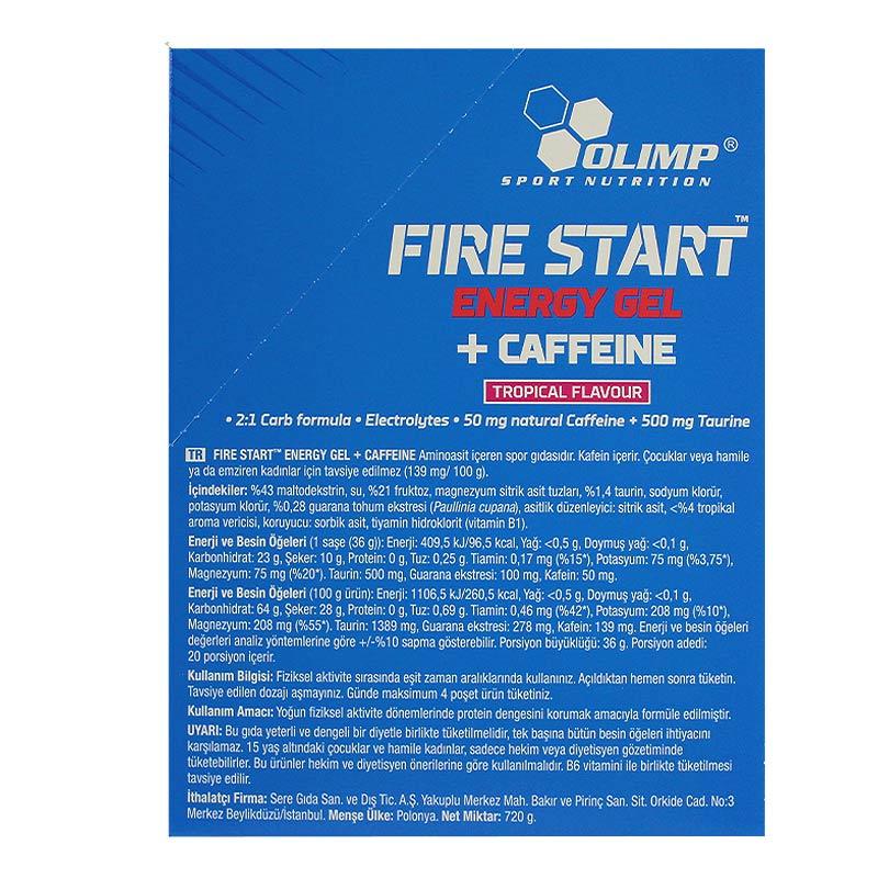 Olimp Fire Start Energy Gel + Caffeine 36 Gr 20 Saşe