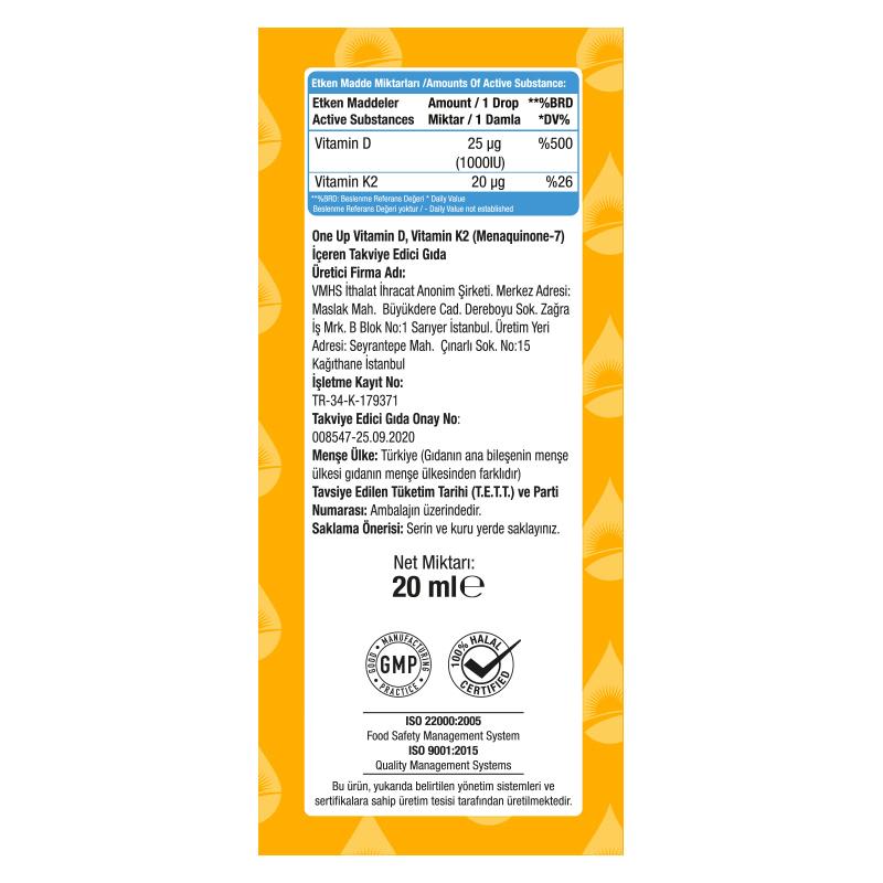 One Up D3 + K2 Vitamini 20 mL Damla