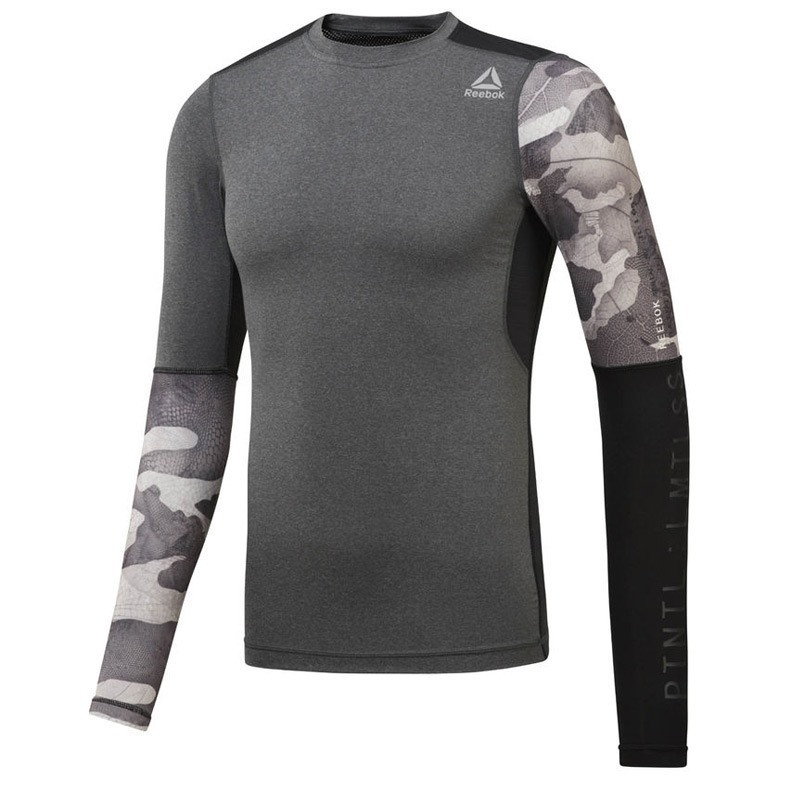 Reebok Activchill Graphic Compression LS T-Shirt Koyu Gri