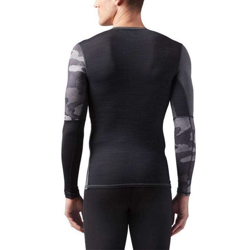 Reebok Activchill Graphic Compression LS T-Shirt Koyu Gri