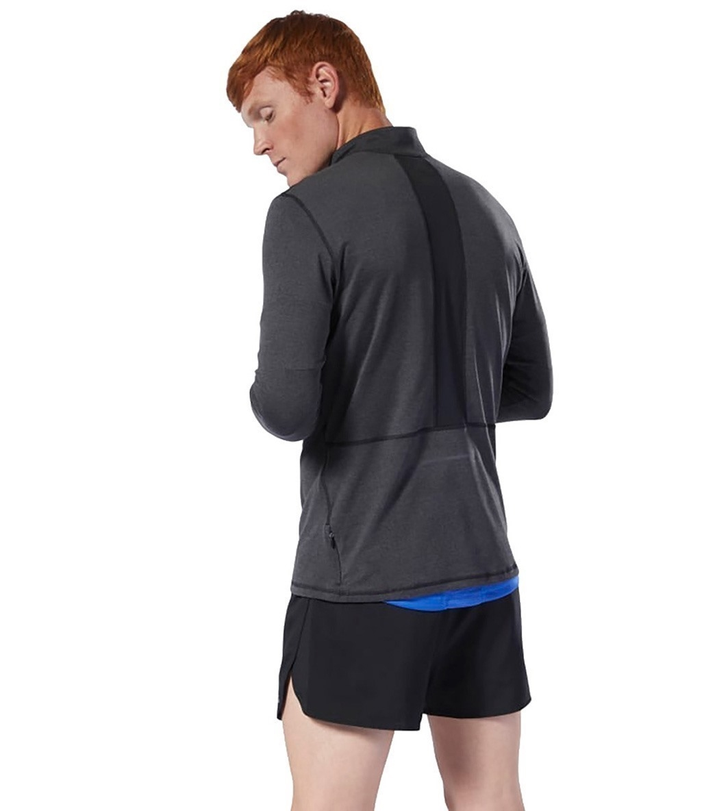 Reebok Run Essentials Yarım Fermuarlı Uzun Kollu T-Shirt Siyah