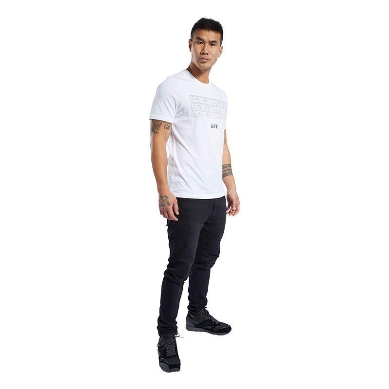 Reebok Ufc Fg Text T-Shirt Beyaz