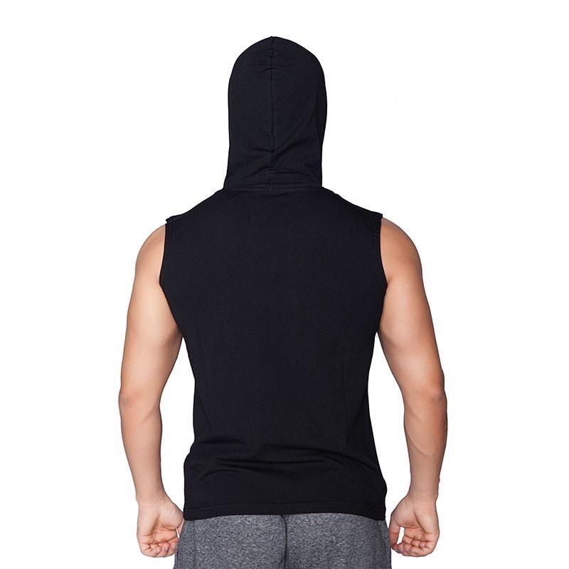 Supplementler.com Conquer Kapüşonlu Kolsuz T-Shirt Siyah