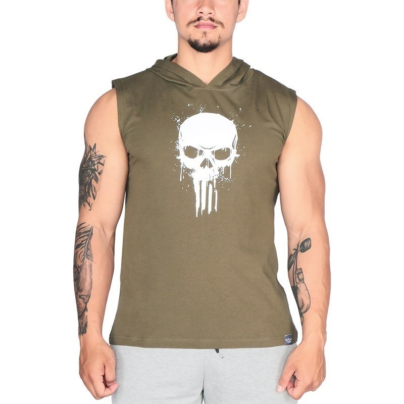 Supplementler Skull Kapüşonlu Kolsuz T-Shirt Yeşil