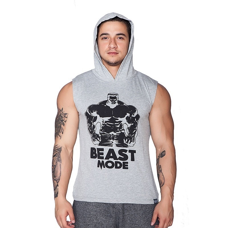 Supplementler.Com Beast Mode Hlk Kapüşonlu Kolsuz T-Shirt Gri