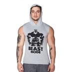 Supplementler.Com Beast Mode Hlk Kapüşonlu Kolsuz T-Shirt Gri