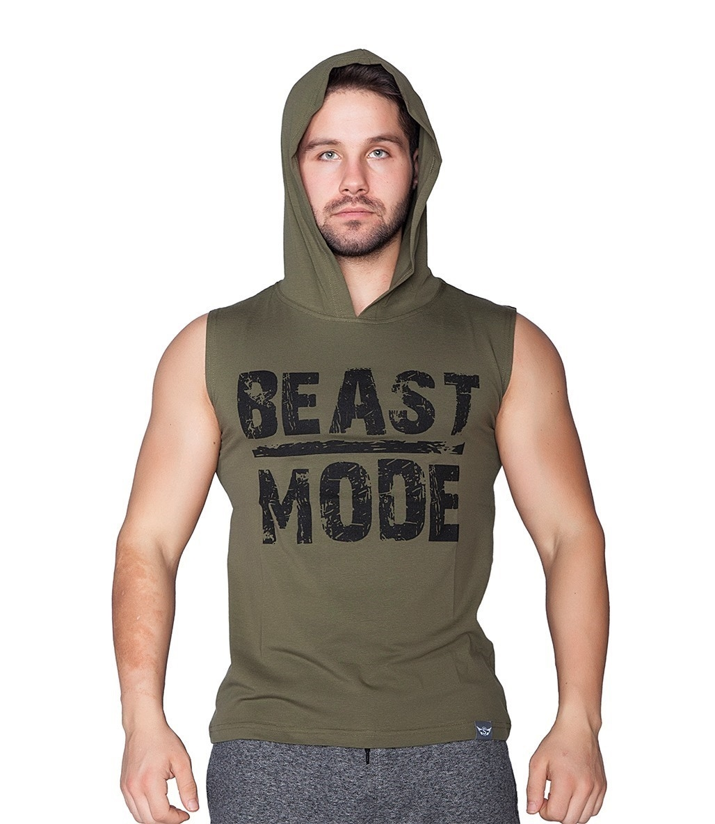 Supplementler.Com Beast Mode Kapüşonlu Kolsuz T-Shirt Yeşil