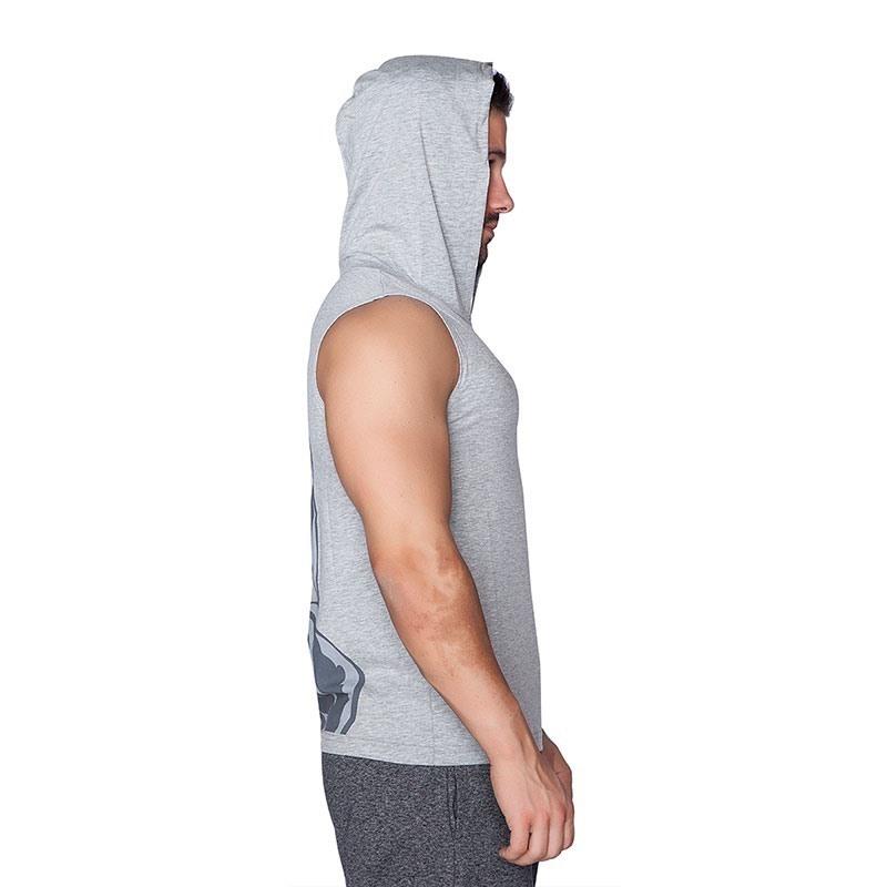 Supplementler.Com Dumbell Arm Kapüşonlu Kolsuz T-Shirt Gri