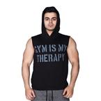 Supplementler.Com Gym Is My Therapy Kapüşonlu Kolsuz T-Shirt Siyah