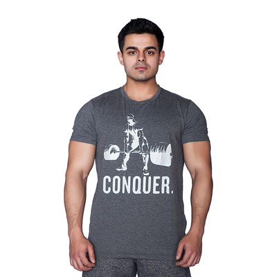 Supplementler.com Halter Conquer T-Shirt Koyu Gri