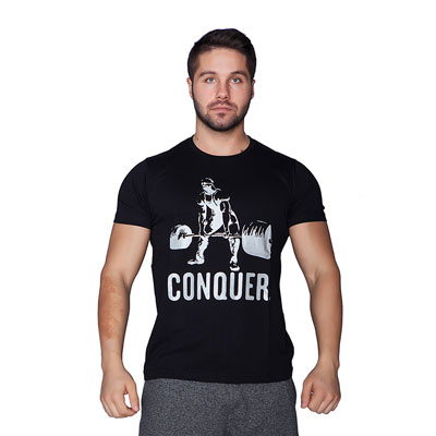 Supplementler.com Halter Conquer T-Shirt Siyah