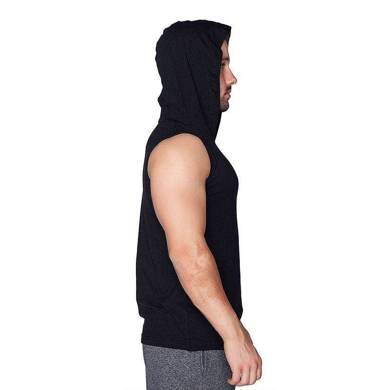 Supplementler.com Kapüşonlu Kolsuz T-Shirt Siyah