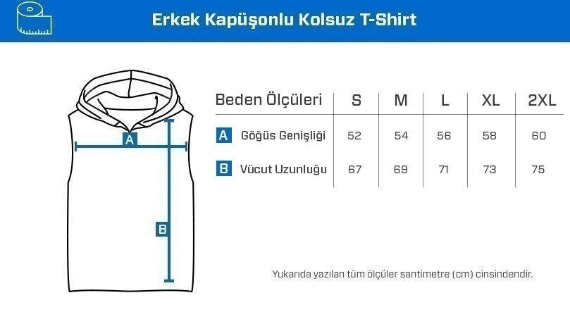 Supplementler.com Never Give Up Kapüşonlu Kolsuz T-Shirt Gri