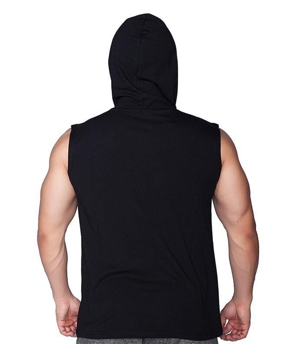 Supplementler.com  Never Give Up Kapüşonlu Kolsuz T-Shirt Siyah