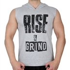 Supplementler.Com Rise&Grind Kapüşonlu Kolsuz T-Shirt Gri