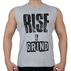Supplementler.Com Rise&Grind Kolsuz T-Shirt Gri