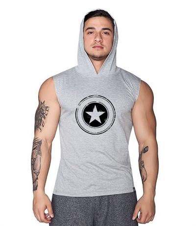 Supplementler Supplementler.com Star Kapüşonlu Kolsuz T-Shirt Gri