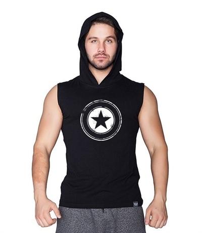 Supplementler Supplementler.com Star Kapüşonlu Kolsuz T-Shirt Siyah