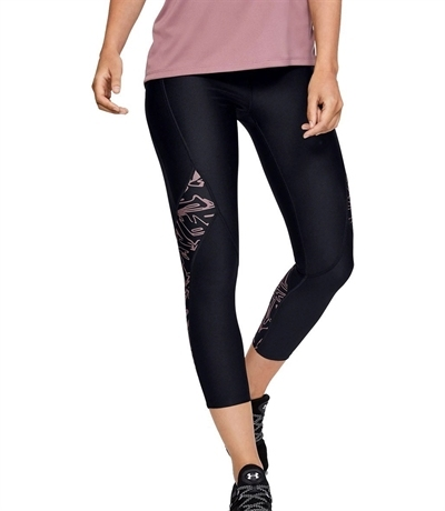 Under Armour HeatGear Printed Ankle Crop Tayt Siyah-Pembe