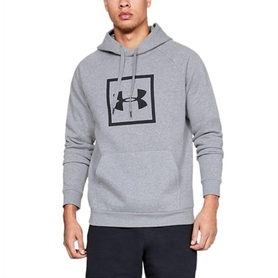 Under Armour Rival Fleece Logo Kapüşonlu Üst Gri