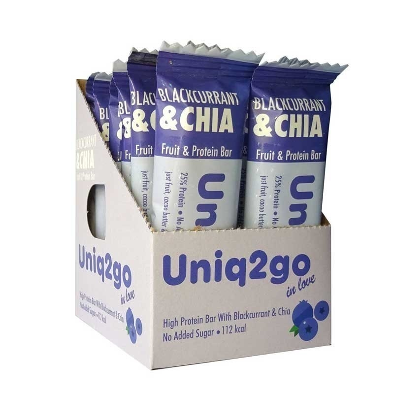 Uniq2go In Love  Frenk Üzümlü ve Chialı Protein Bar 32 Gr 12 Adet