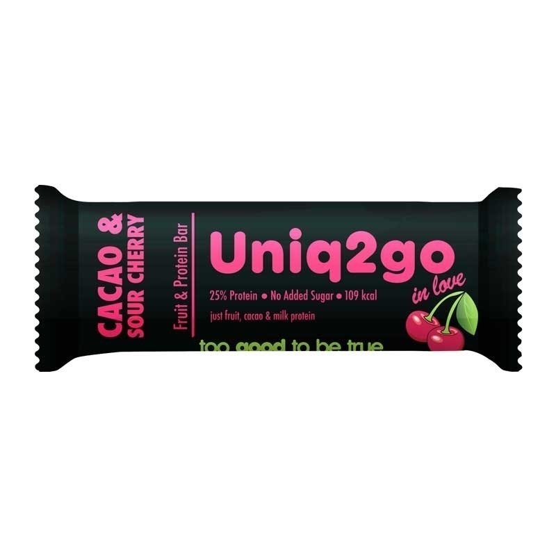 Uniq2go In Love Kakaolu ve Vişneli Protein Bar 32 Gr 12 Adet