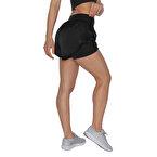 MuscleCloth 2 In 1 Kadın Taytlı Şort Siyah