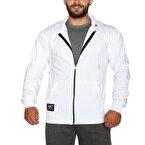MuscleCloth Kapüşonlu Fermuarlı Sweatshirt Beyaz