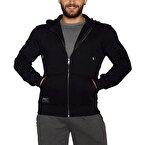 MuscleCloth Kapüşonlu Fermuarlı Sweatshirt Siyah