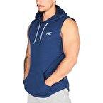 MuscleCloth Training Kapüşonlu Kolsuz T-Shirt İndigo Mavi