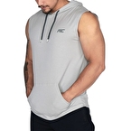 MuscleCloth Training Kapüşonlu Kolsuz T-Shirt Gri